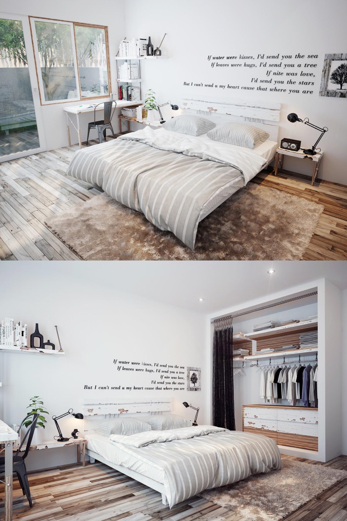 Scandinavian white bedroom design
