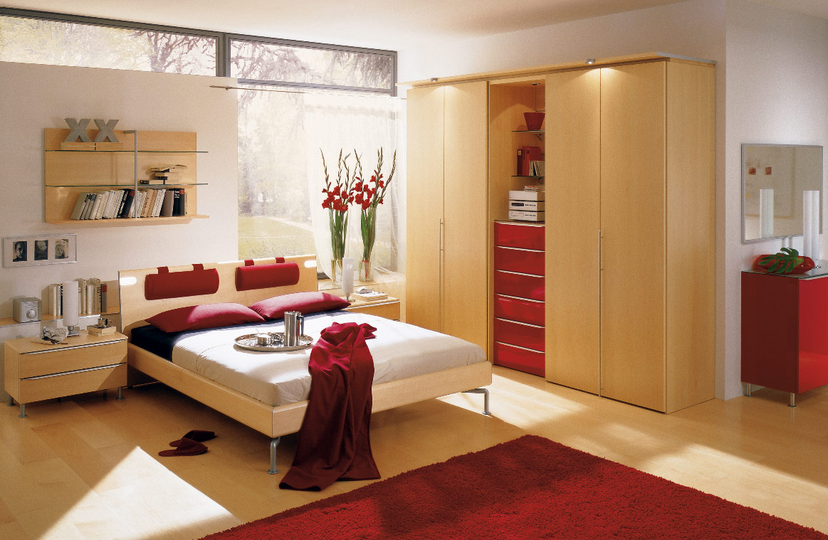 modern red bedroom design