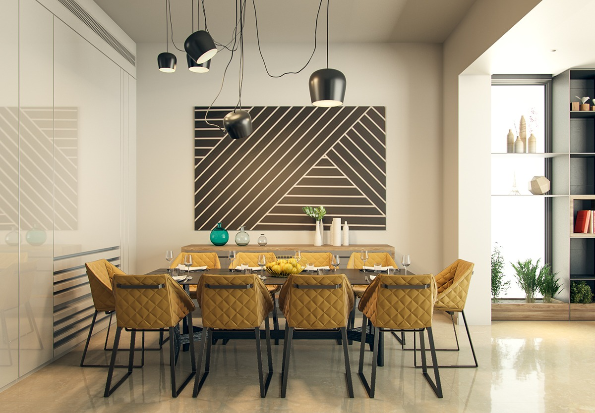 Elegant Dining Room Design With Modern Lights As The Main Decoration