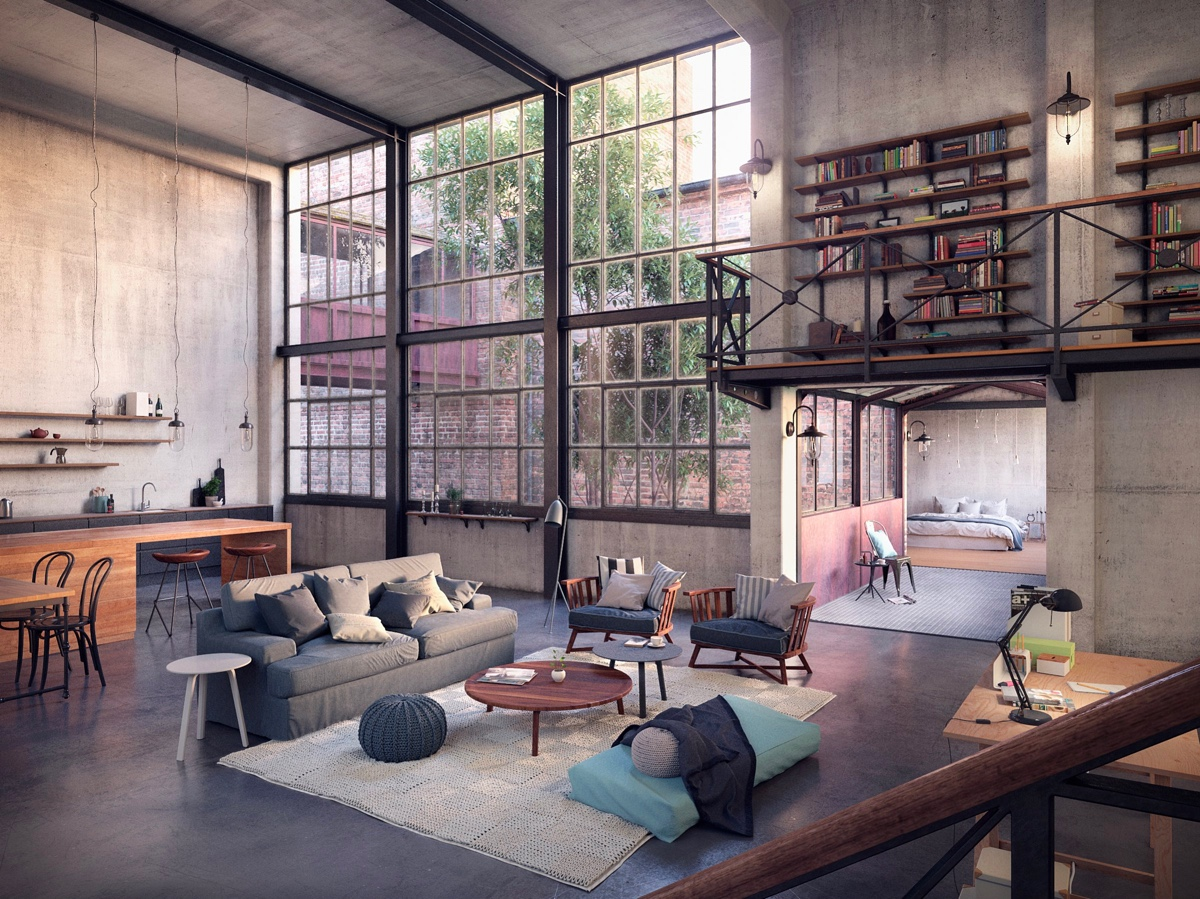 Industrial living room design