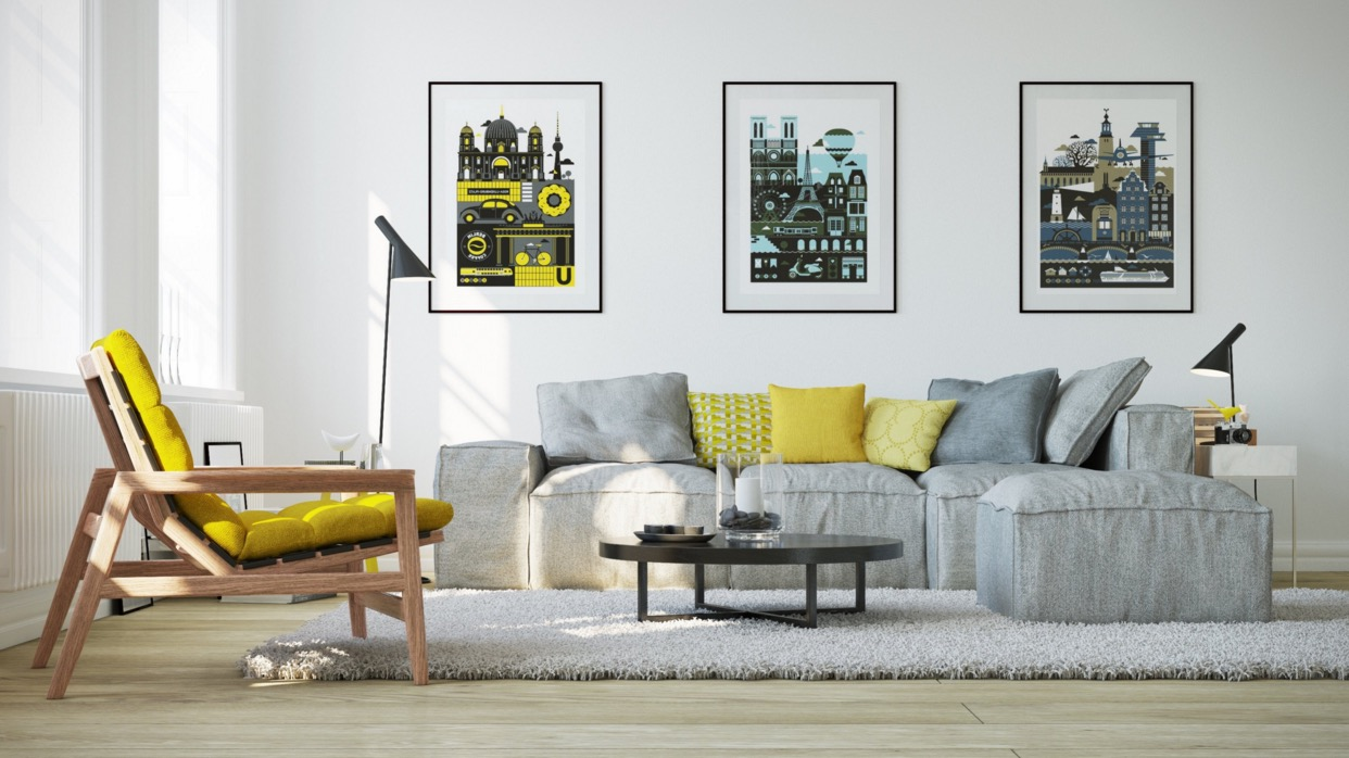 living room with yellow color