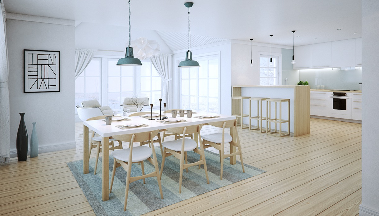 white dining room concept