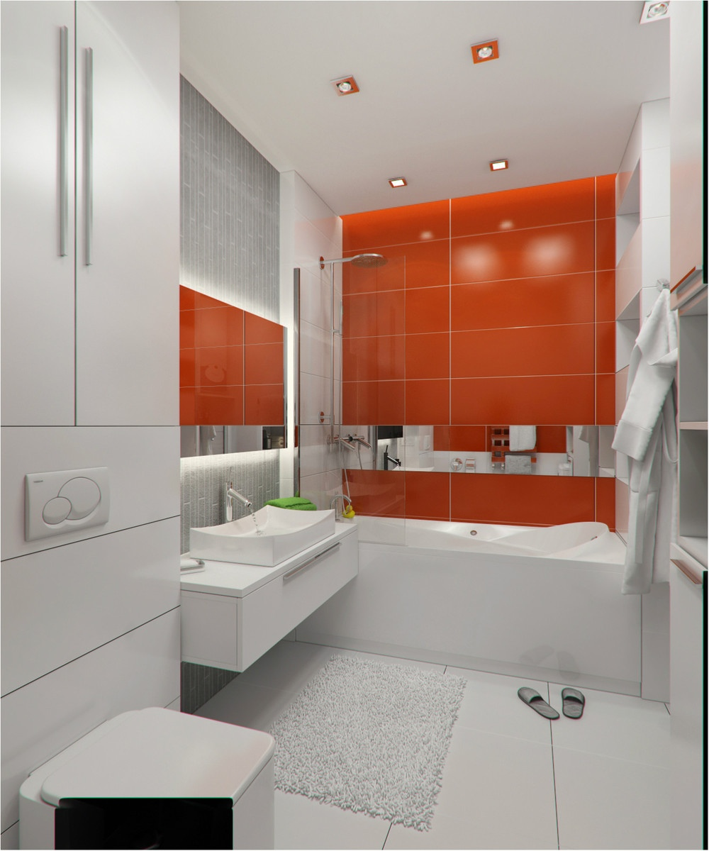 2 concepts of studio apartment decorating which makes elegant and modern roohome - Carrelage salle de bain orange ...