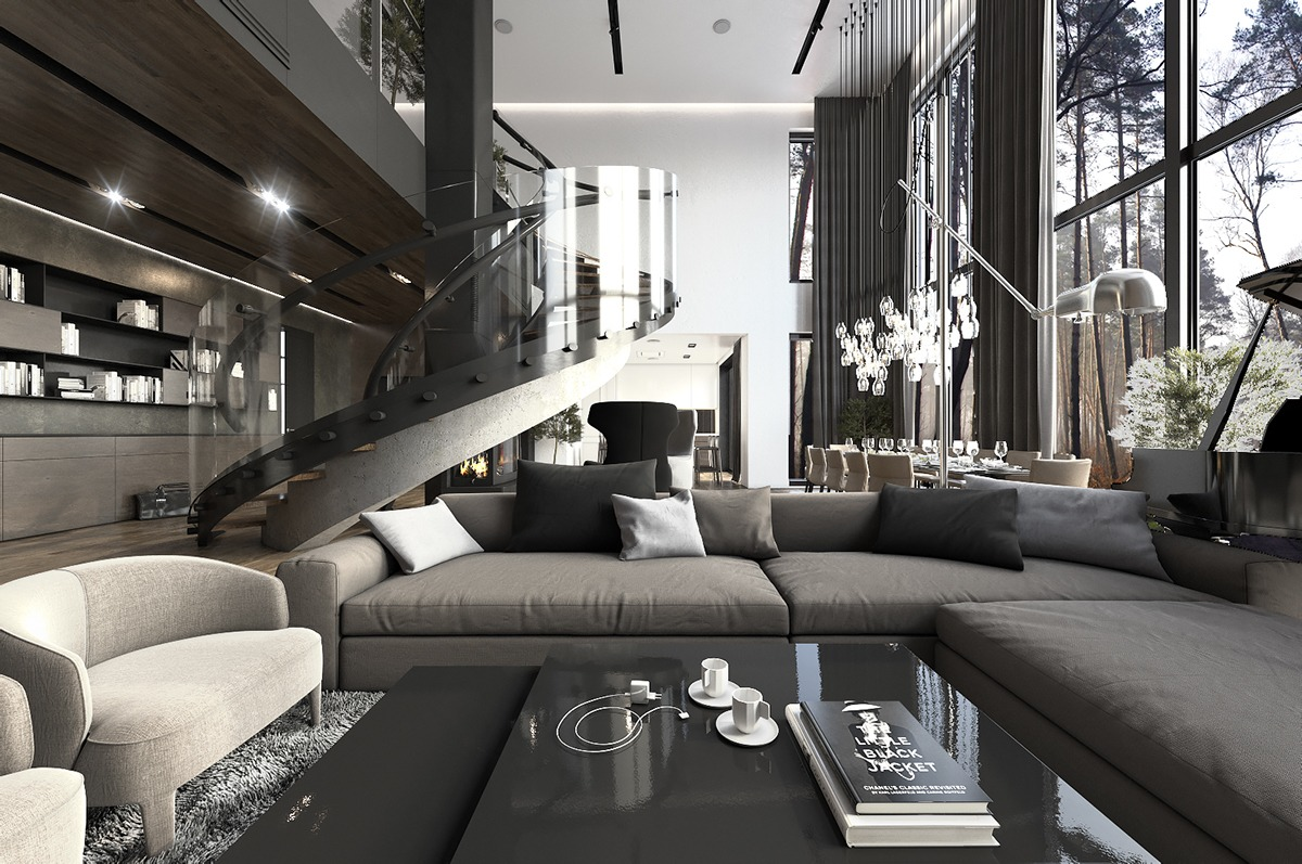 8 Living Room Interior Designs and Layout with Dramatic Dark Shades - RooHome