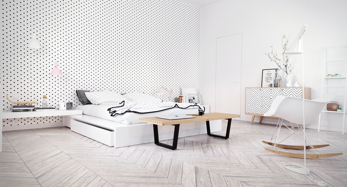 Scandinavian Bedroom Design Dominant With White Color Theme on modern bedroom colors