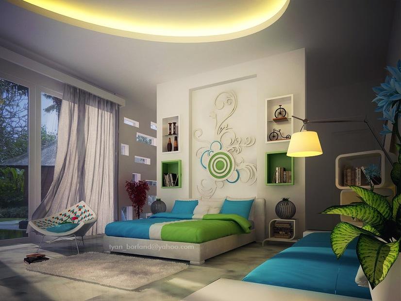bright color bedroom wall design