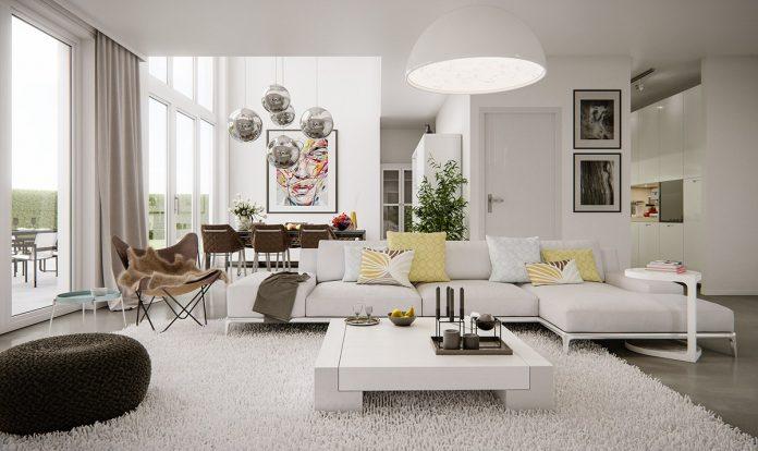 living room shows modern design