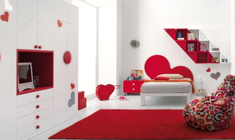 beauty red bedroom design