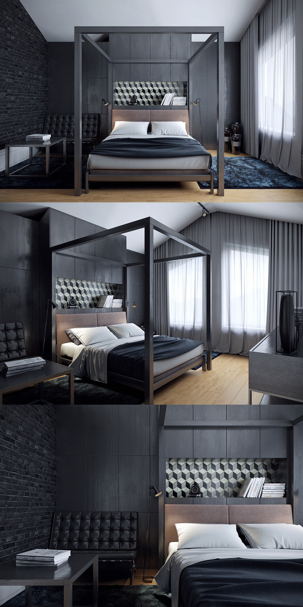 Dark bedroom concept