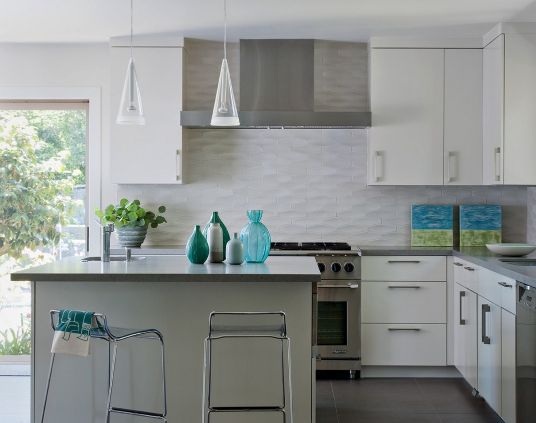 white texture tile backsplash
