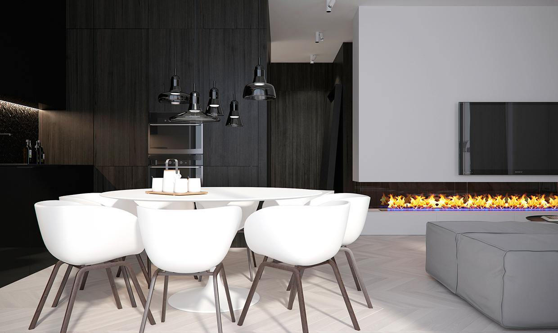modern light in dining room
