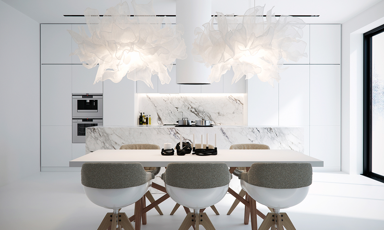 white dining room design