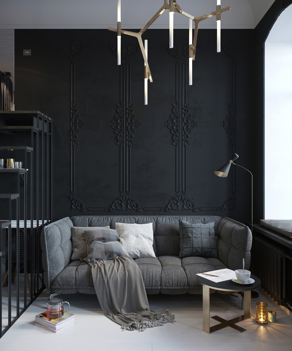 Small Apartment Zinging With Color: Choosing A Dark Color Theme For Tiny Apartment Design