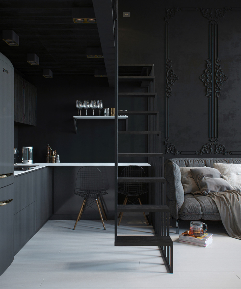 dark tiny apartment design