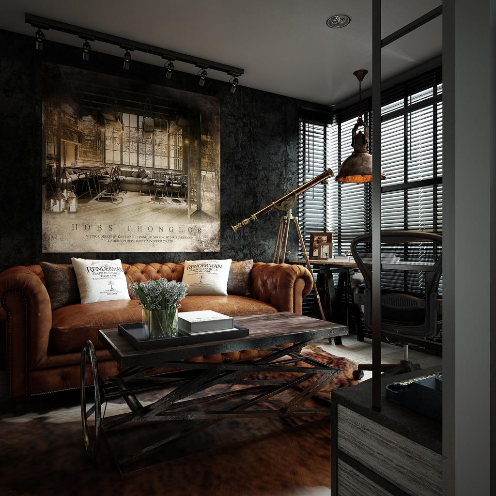 Dark color for small apartment interior design with for Interior design dark