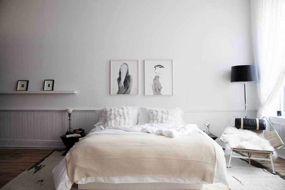Scandinavian bedroom white themes