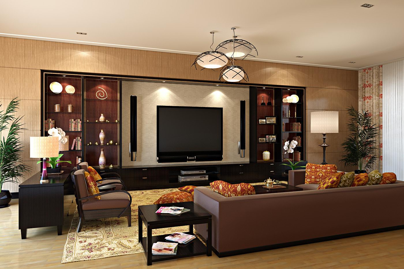 Modern Home Theatre Room Style Designs For Living Room - RooHome ...