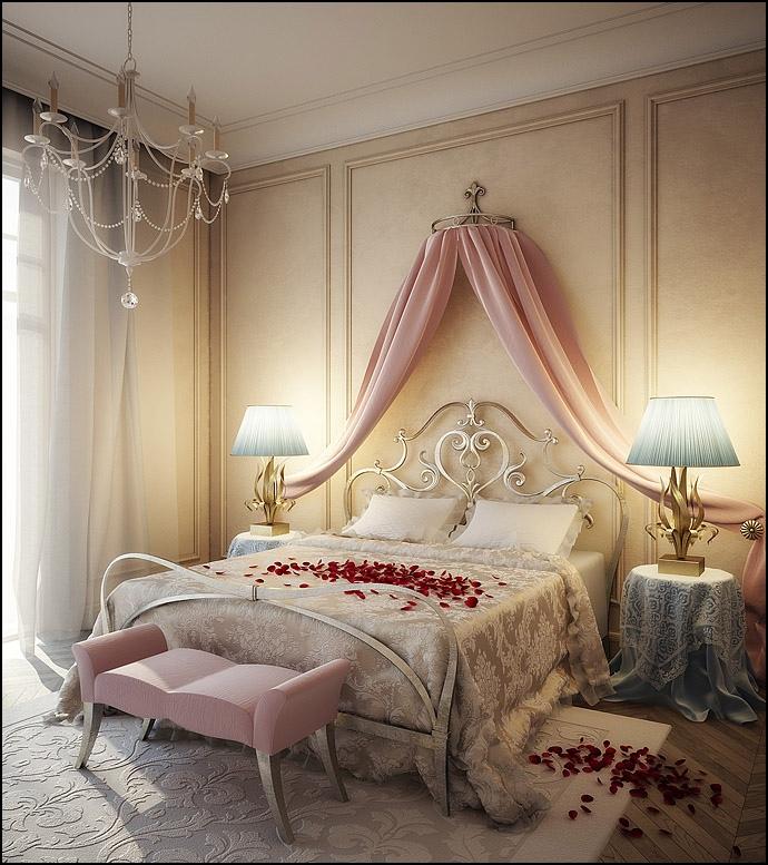 romantic pink color bedroom design
