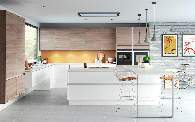 wooden white kitchen design