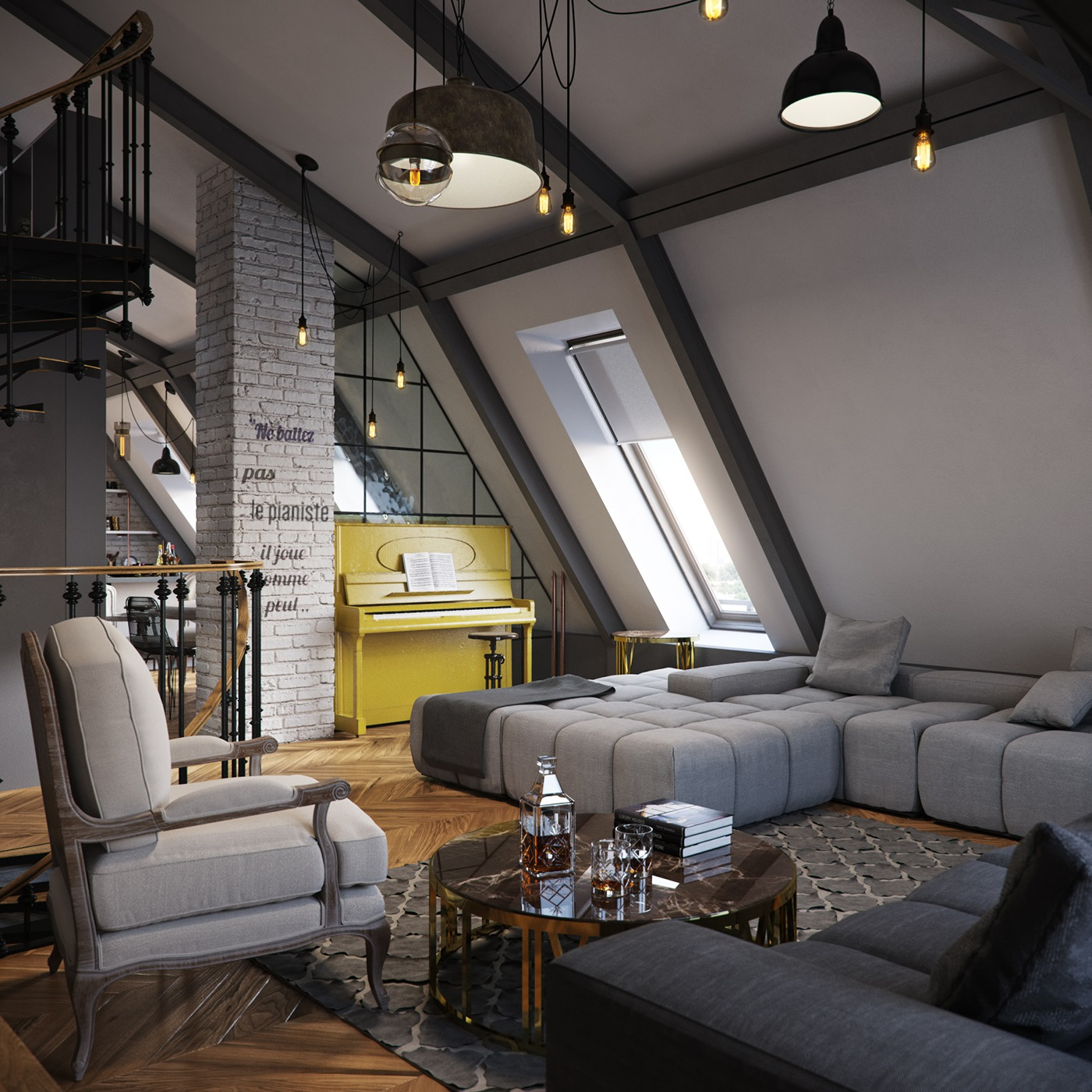 Dark Color For Small Apartment Interior Design With ...