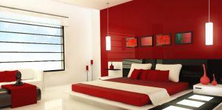 minimalist red bedroom design