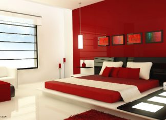 minimalist red bedroom design