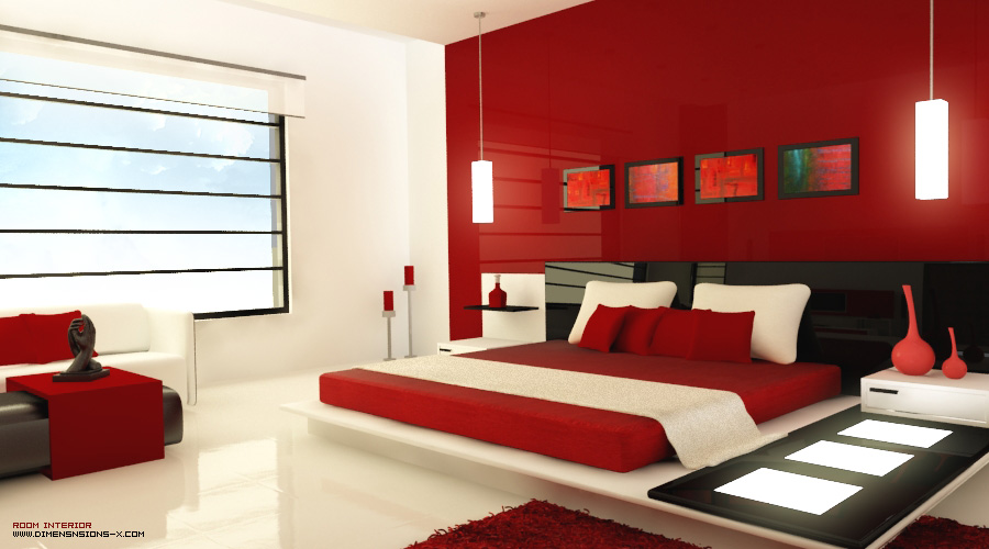 Lovely Minimalist Red Bedroom Design
