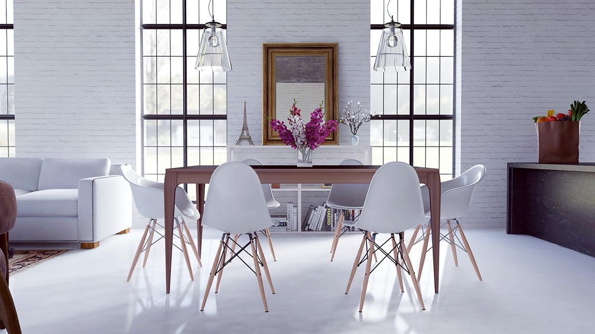 modern white dining room design