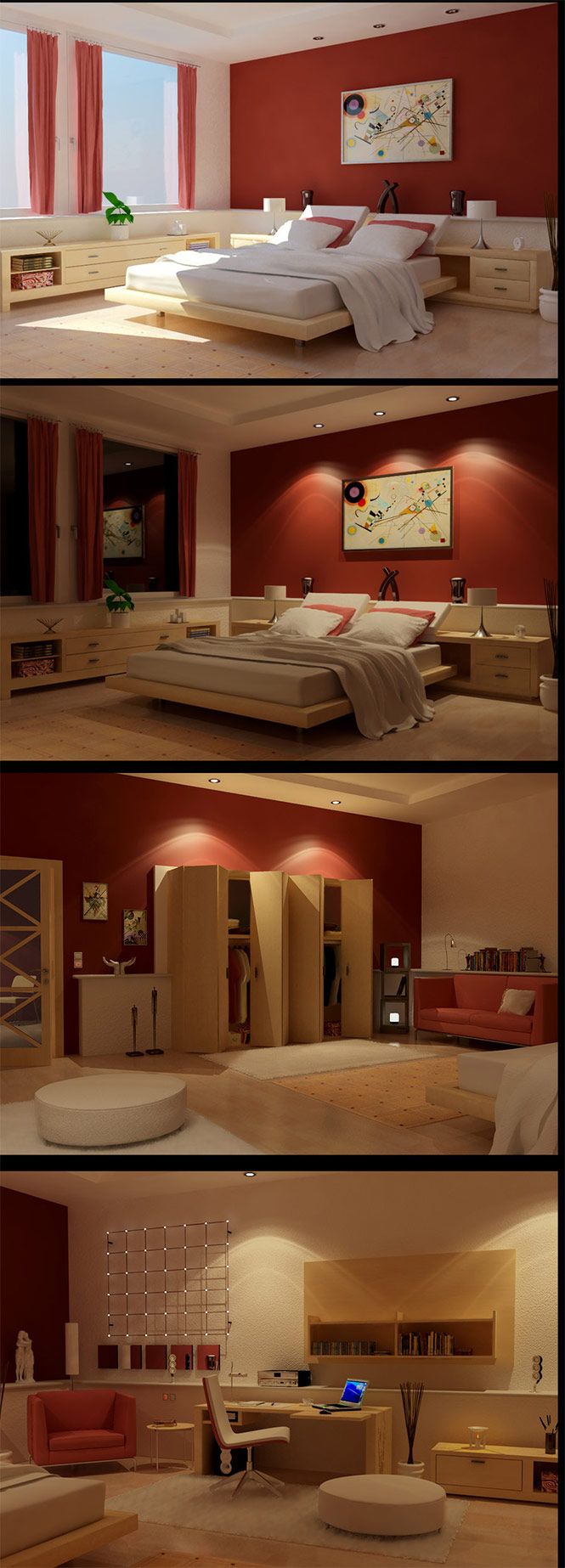 wooden red bedroom design