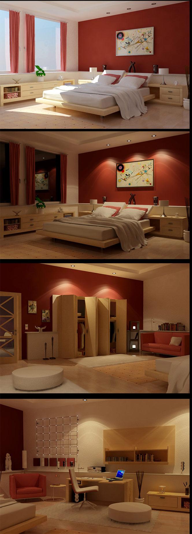 wooden red bedroom design