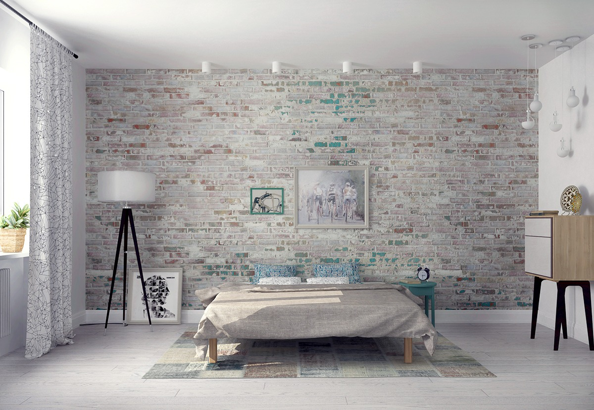 beauty brick wall bedroom