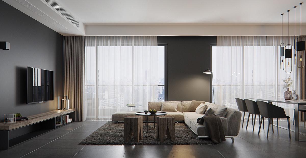 Dark living room interior design ideas