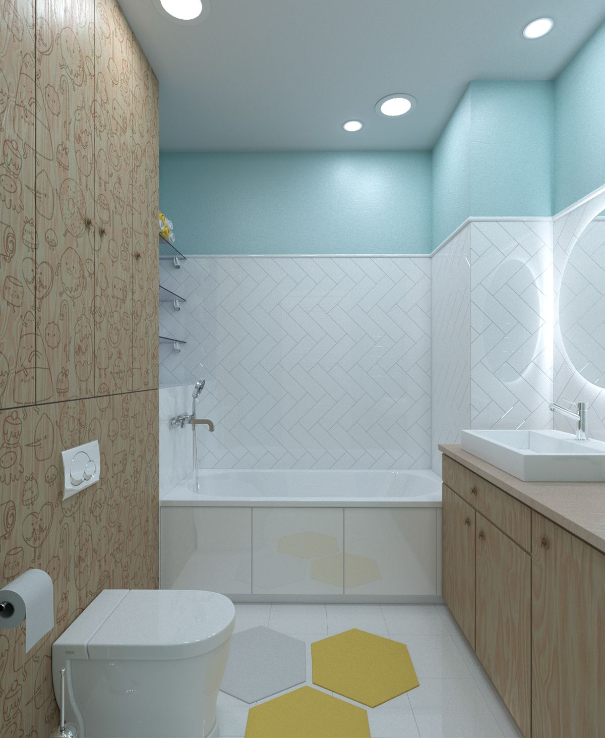 Colorful bathroom theme