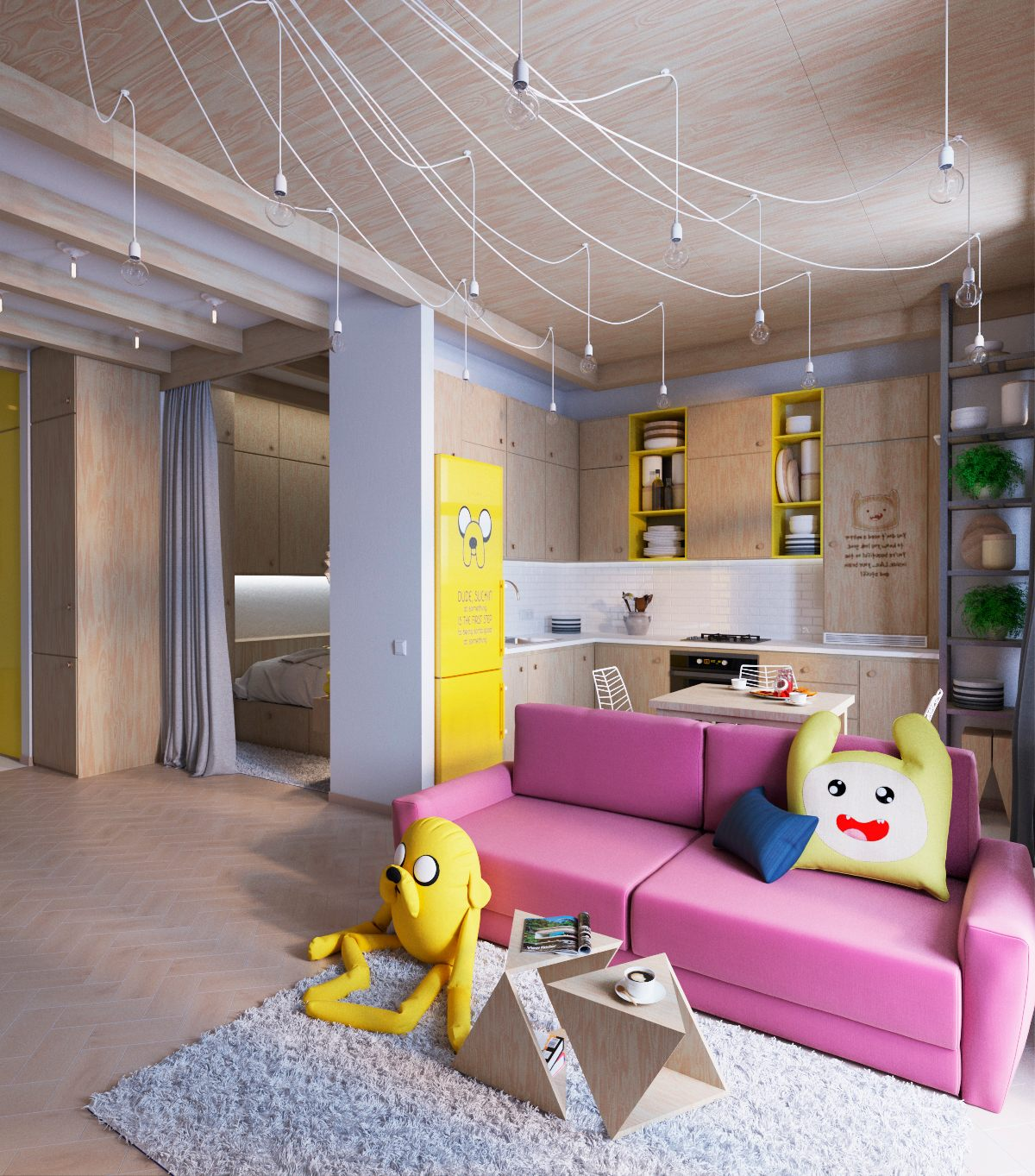 Colorful apartment interior design with charming feature for Interior designs by ria