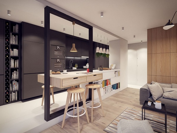 Aesthetic dining room design by using wood material