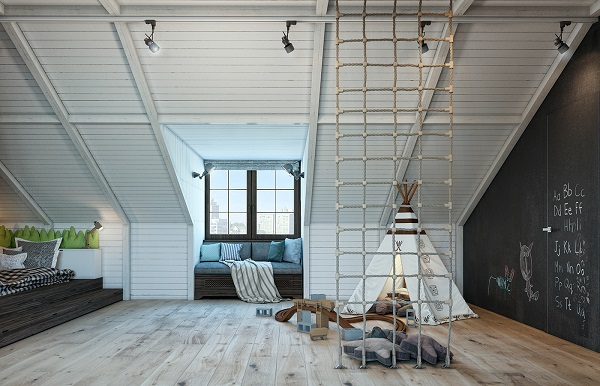 Amazing boys nursery loft design