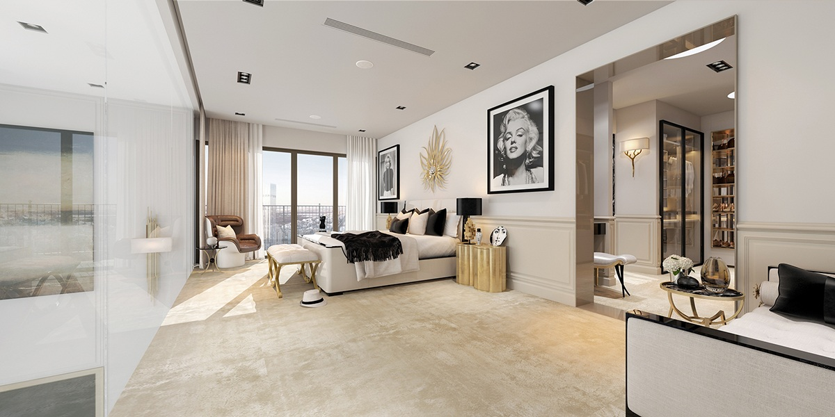 Modern apartment designs ideas with beautiful artistic for Art deco style bedroom ideas