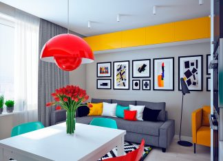 Colorful studio apartment design