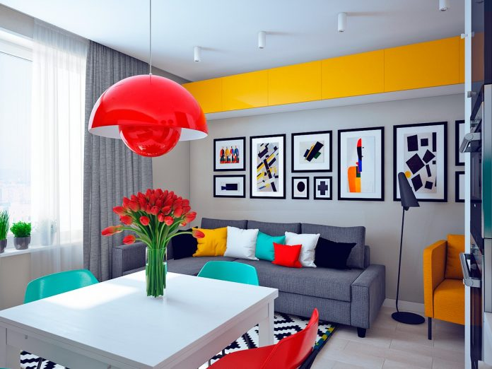 Colorful studio apartment design