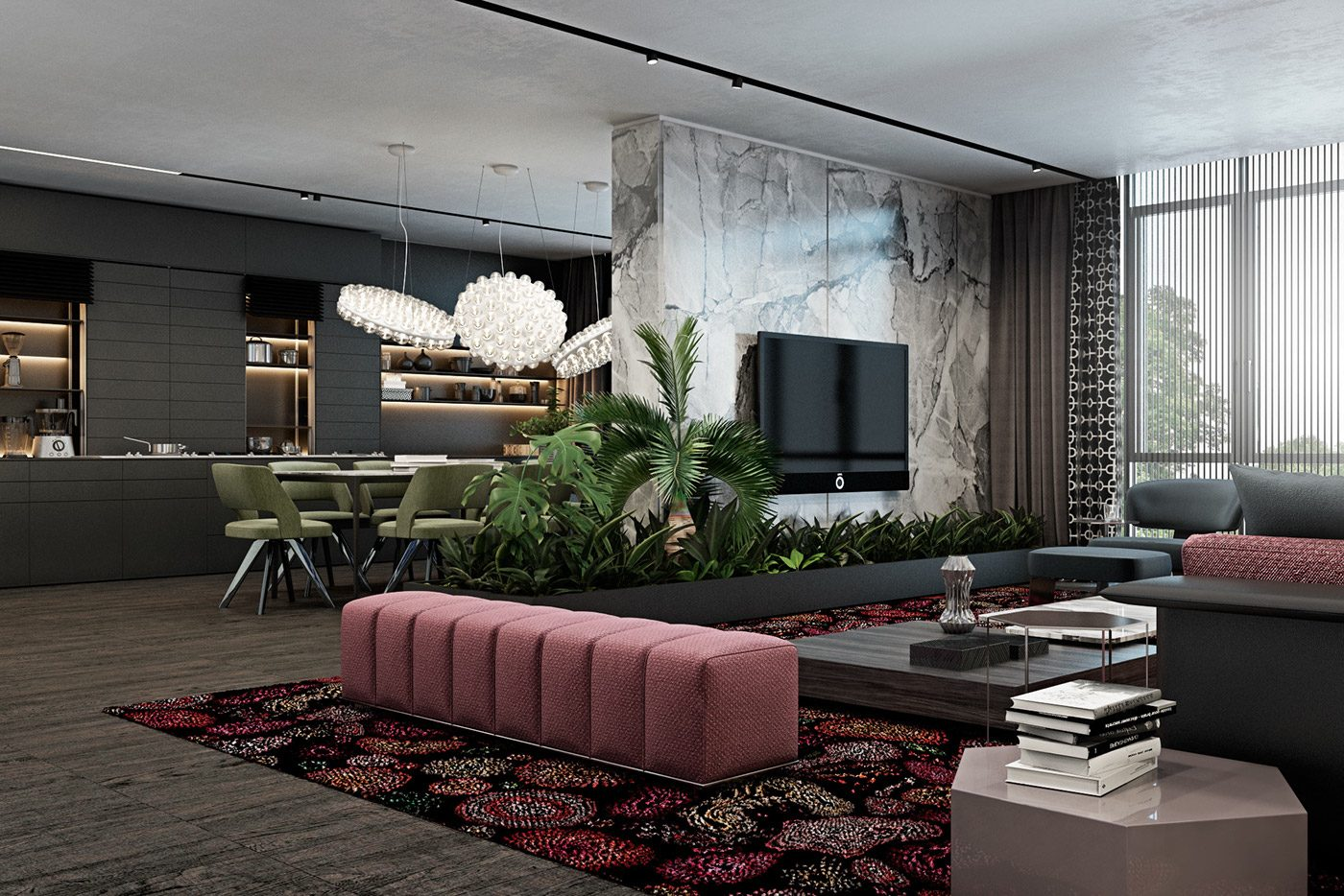 Luxurious living room design with dark interior style for Interior designs by ria