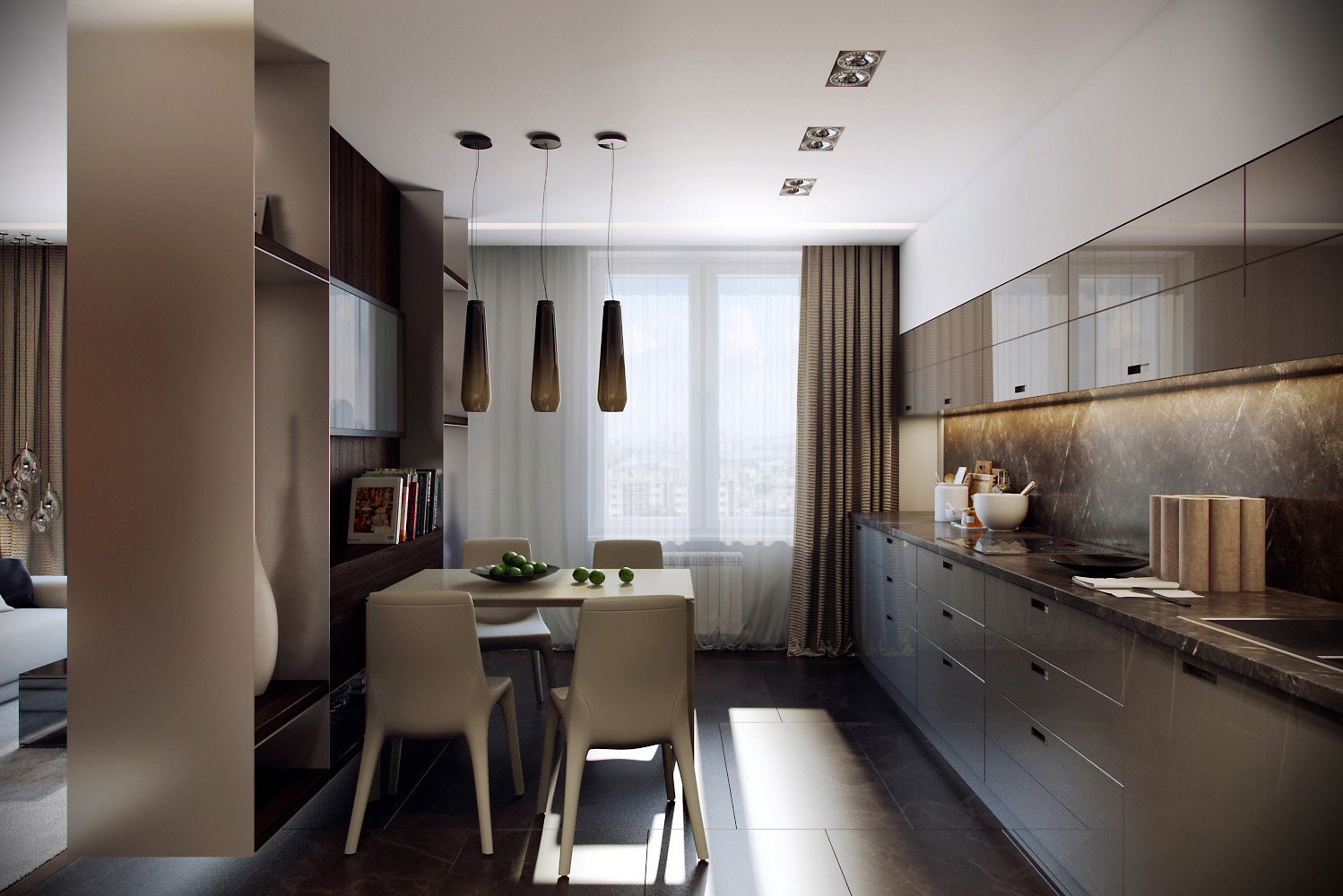 Minimalist dining room and kitchen