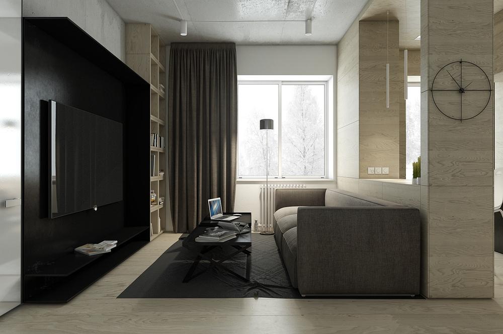 Dark apartment design