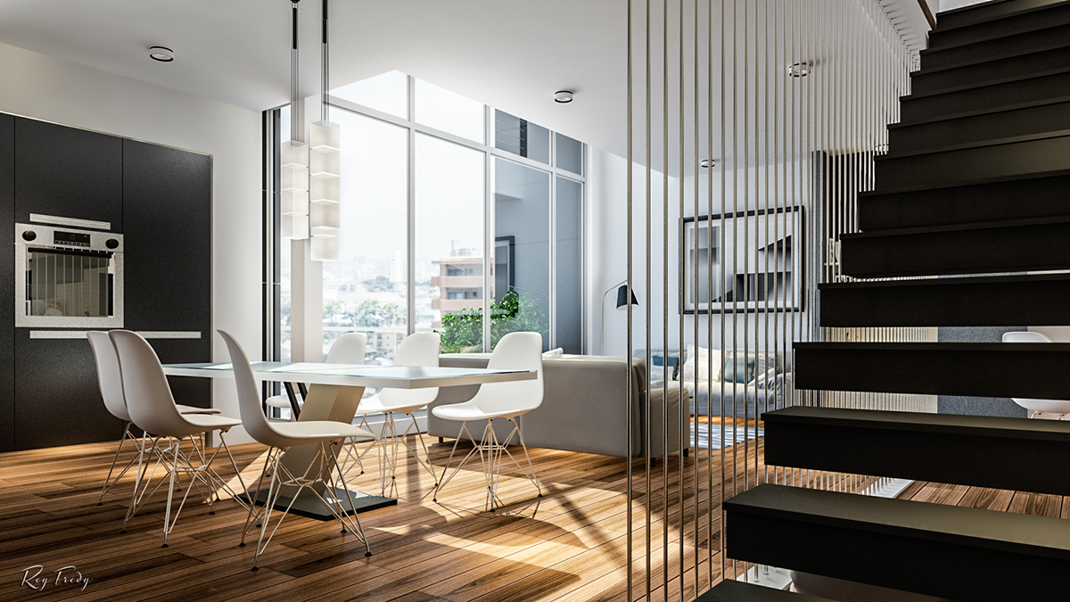 the great modern apartment design with black and white shades