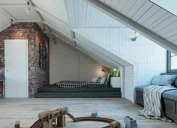 Boys nursery loft design shows bedstead appearance