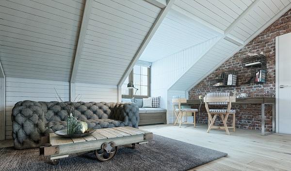 Boys nursery loft design shows study space