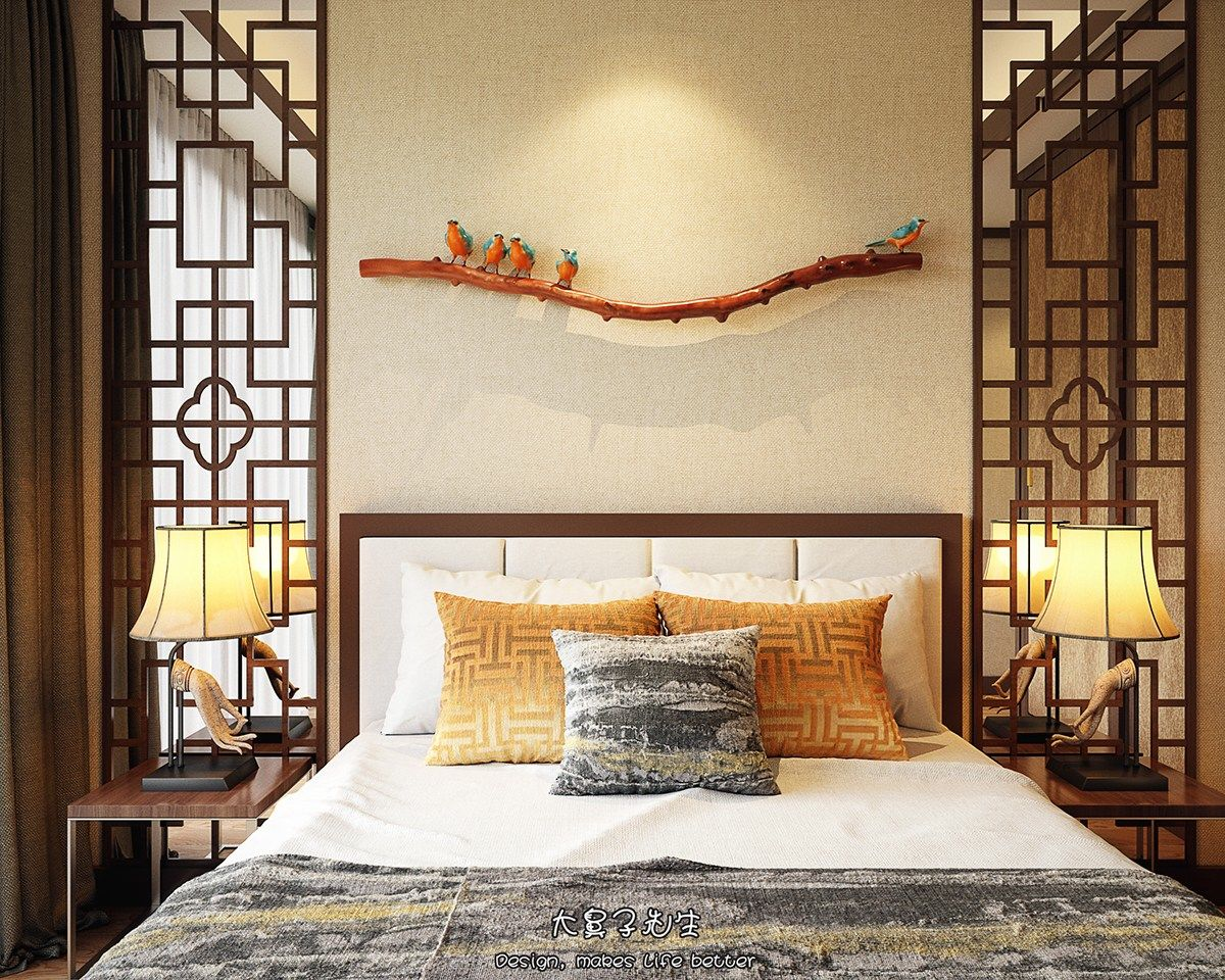 Beautiful apartment interior design with chinese style for Bedroom curtains designs