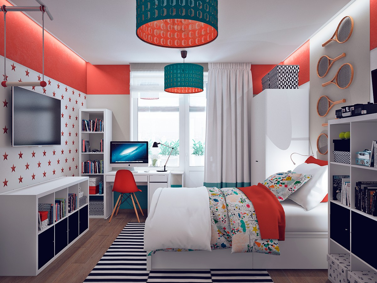 Colorful orange bedroom