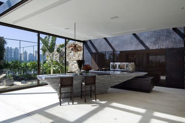 Creative living room design and kitchen