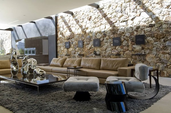 Creative living room design by using modernist interior