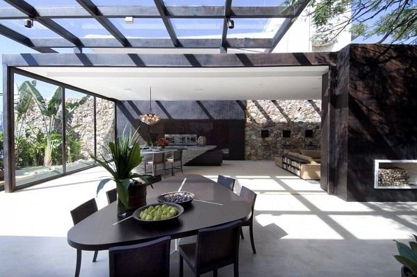 Creative living room design with greenery interior